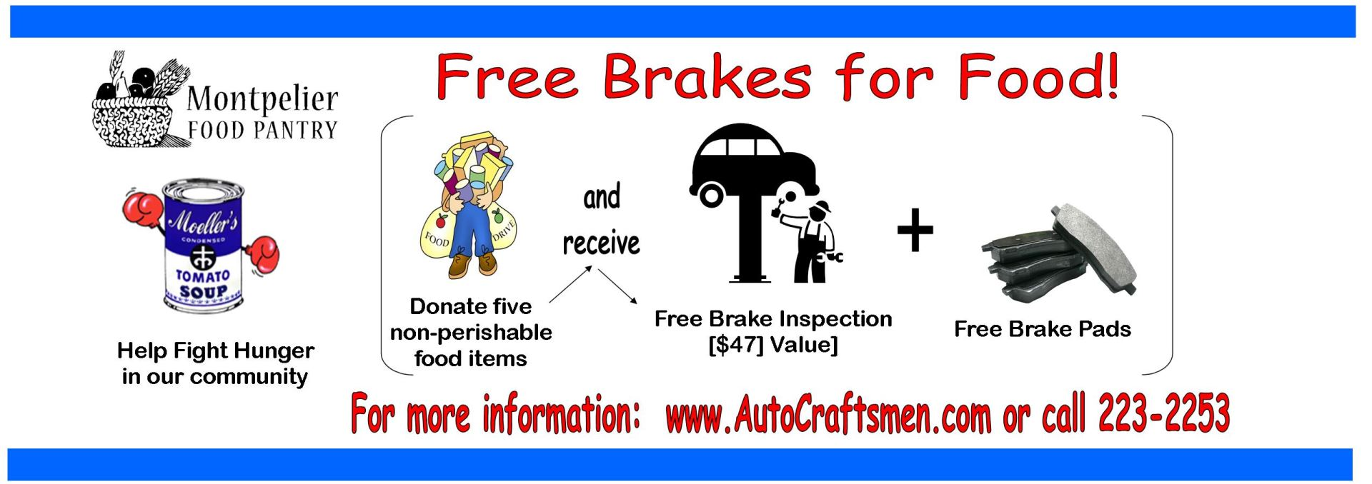 Free Brakes For Food to Support the Montpelier Food Pantry!