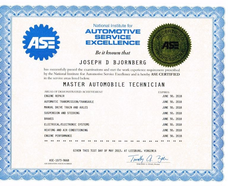ASE Certification Program for Mechanics - Auto Craftsmen LTD.